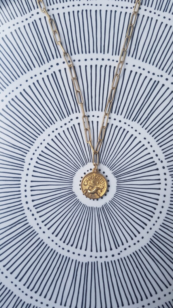 גרין קווין | חנות מתנות לאישה: שרשרת מיסטיקל: מזל גדי - זהב, בעיצוב שלי דהרי
