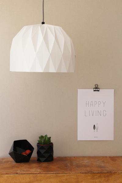 מנורת אוריגמי לבנה ב GREEN QUEEN, חנות עיצוב