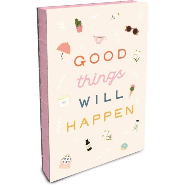 מחברת 180 מעלות, מחברת תפורה לכתיבה נעימה, מחברת good things will happen