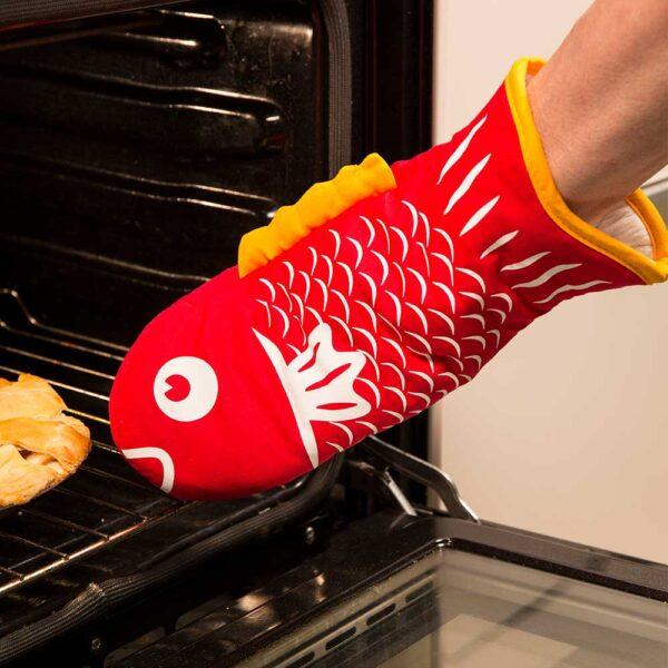 גרין קווין חנות אינטרנטית: כפפה למטבח דג אדום - כפפות מטבח