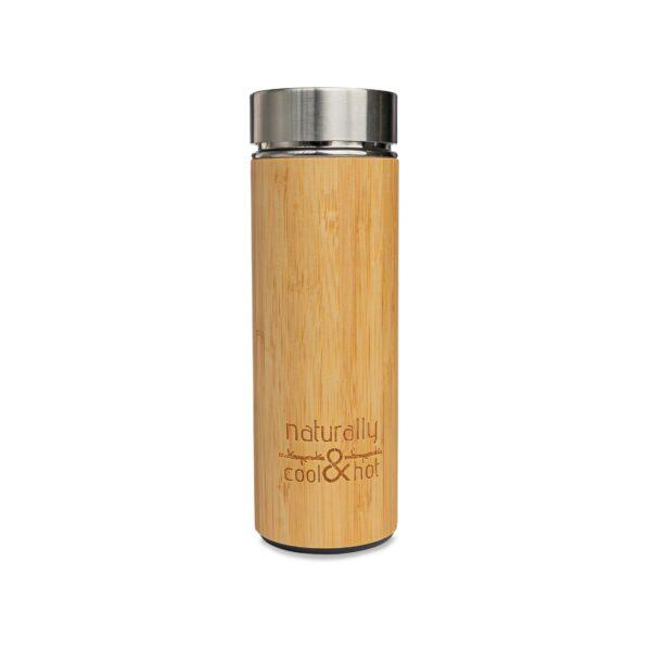 """גרין קווין, בקבוק מים רב פעמי עם חיפוי במבוק טבעי - 400 מ""""ל"""
